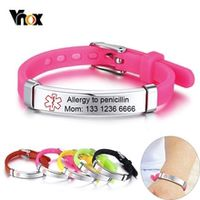 vnox customized kids medical alert id bracelets for boys girls anti allergy stainless steel silicone personalize emergency info
