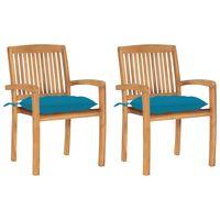 vidaxl sillas de jardin 2 uds madera de teca con cojines azul claro