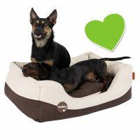 zoolove sofa con aspecto de cuero artificial y lana para perros - s 60 x 50 x 23 cm l x an x al