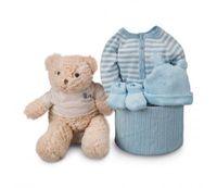 canastilla bebe soft rayas azul
