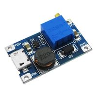 hailangniao mt3608 dc-dc adjustable boost module 2a boost plate 2a step with micro usb 2v - 24v to 5v 9v 12v 28v lm2577
