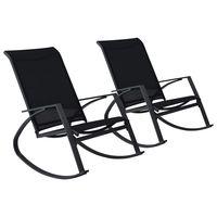 vidaxl sillas mecedoras de jardin 2 unidades textilene negro