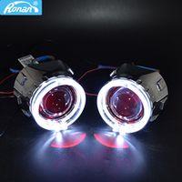 car styling bi-xenon hid projector lens headlight use h1 led angel eyes white-yellow headlight retrofit h4 h7sockets