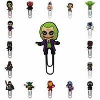 1pcs super hero batman avenger star wars pvc cartoon bookmark metal paper clips stationery clip holder paper holder party gifts