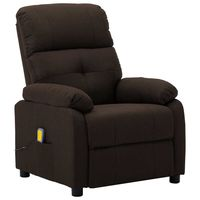vidaxl sillon de masaje reclinable de tela marron oscuro