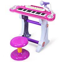 costway piano electronico para ninos con 37 teclas microfono y taburete funcion grabacion y reproduccion rosa 57 x 28 x 45 5 cm