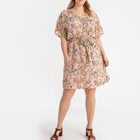 vestido recto con esatmpado de flores semilargo