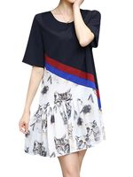 plus tamano mujer casual vestido gato impreso de manga corta patchwork de gasa vestidoes