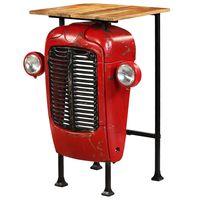 vidaxl mesa de bar de tractor madera maciza mango roja 60x60x107 cm