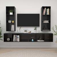 vidaxl muebles de pared para tv 4 pzas aglomerado negro con brillo