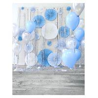 3x5ft 5x7ft vinilo azul globo fondo de madera fotografia fondo telon de fondo estudio prop