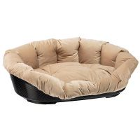 set cesta de plastico ferplast siesta deluxe negra con funda de terciopelo - set talla 8 - 82 x 595 x 25 cm l x an x al