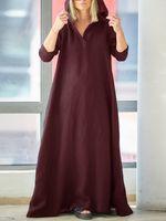 Mujer vendimia Bolsillos laterales con cuello en v Split algodón Maxi Vestido