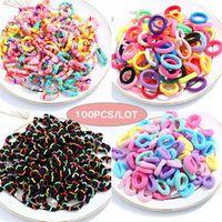 100pcsbox girls colorful basic elastic hair bands hair rope hair accessories scrunchy headbands rubber band gum for hair