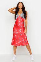 vestido midi de saten floral mezclado cortado al bies tall rojo