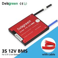 deligreen 3s 10a 20a 30a 40a 50a 60a bms for 37v lithium battery pack with separate charging port for 18650 li-ion packs