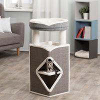 trixie torre para gatos arma gris azul y blanco