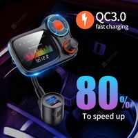 big display car charger quick charge 30 dual usb fast charging for xiaomi redmi note 8 pro fm transmitter bluetooth 50 music mp3 player