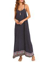 sexy mujer correa de espagueti backless summer printed maxi dresses