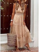 fashion lace trim sleeveless empire-waist maxi dress
