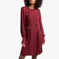 vestido corto de tejido satinado de manga larga