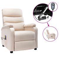 vidaxl sillon de masaje electrico y reclinable tela color crema