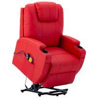 vidaxl sillon de masaje con sistema de elevacion cuero sintetico rojo