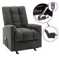 vidaxl sillon reclinable masaje electrico de tela gris oscuro
