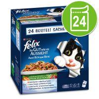 felix fantastic 24 x 100 g - pack ahorro - carne y pescado con verduras