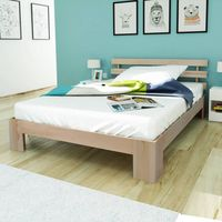 vidaxl estructura de cama de madera de pino maciza 140x200 cm