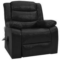 vidaxl sillon de masaje reclinable cuero sintetico negro