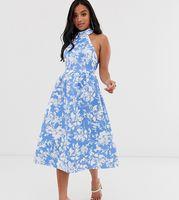 vestido skater midi con cuello halter en azul con estampado floral de asos design petite