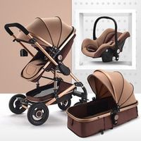 luxury multifunctional 3 in 1 baby stroller portable high landscape stroller folding carriage red gold newborn baby stroller