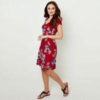vestido corto con flores vaporosas de manga corta