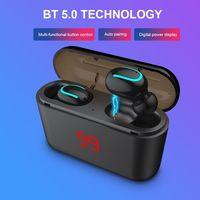 hbq-q32 tws auriculares bluetooth 50 auriculares inalambricos auriculares estereo auriculares deportivos manos libres con caja de carga de microfono con pantalla digital