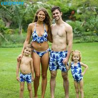 mother daughter father son swimsuits blue family look mom and daugher daddy parent child bikini bathing swimwear summer clothes