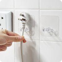 2pcspack popular office powerful plastic hanger adhesive transparent power plug holder home storage hook