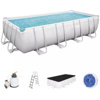 power steel 56466 piscina sobre suelo piscina con anillo hinchable rectangular 14812 l azul gris