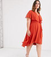 vestido midi con bajo asimetrico y capa en la parte posterior de asos design curve