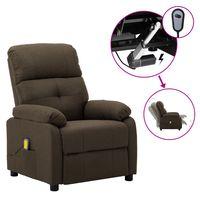 vidaxl sillon de masaje electrico y reclinable tela marron