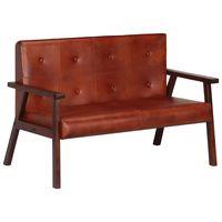 vidaxl sofa de 2 plazas cuero autentico marron