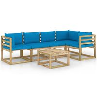 vidaxl juego de muebles jardin 6 pzas cojines madera pino impregnado