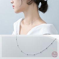 wantme genuine 100 925 sterling silver cross chain glossy bead choker necklace women minimalist fine jewelry cute accessories