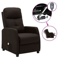 vidaxl sillon de masaje electrico y reclinable de tela marron oscuro