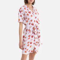 vestido camisero corto con estampado de frutas