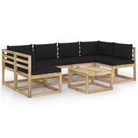 vidaxl juego de muebles jardin 7 pzas cojines madera pino impregnado