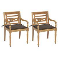 vidaxl sillas batavia 2 uds teca maciza con cojines gris taupe
