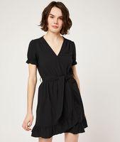 vestido cruzado de volantes - dolce - 44 - negro - mujer - etam