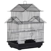 pawhut jaula para pajaros de metal pajarera con bandeja extraible para canarios 2 comederos y perchas pinzones periquitos 51x40x67 cm negro
