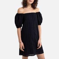 vestido corto evase con estampado y cuello tunecino